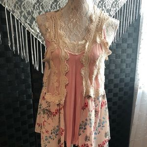 Self Esteem Tank w/ Floral & Lace Long Vest